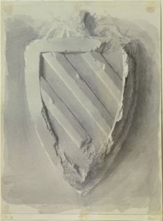 John Ruskin. 'Study of the Form of a Shield, from the Tomb of Eleanor of Castille in Westminster Abbey'. Watercolour over graphite on wove paper. 26th December 1871.