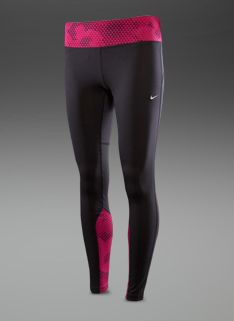 Nike Womens Epic Run Printed Tights - Womens Running Clothing - Black-Bright Magenta-Matte Silver