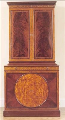 George III mahogany and satinwood cabinet was designed by John Linnell during the 18th century.