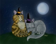 Ash Evans fantasy art Halloween witch cat print by AshEvans, $15.00