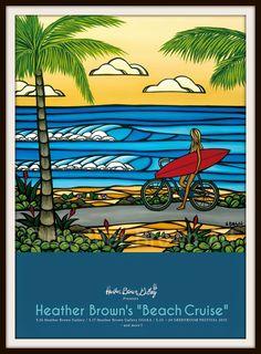 HB Heather Brown Art, Wind Surf, Brown Wallpaper, Apple Wallpaper, Vintage Tiki, Surfboard Art, Hippie Art, Surf Art, Beach Print