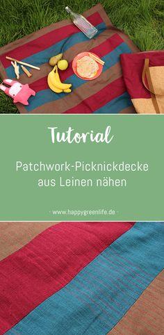 Nähanleitung: Patchwork-Picknickdecke aus Leinen