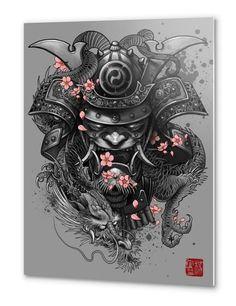 """""""Dragon Samurai"""" Metal Print by Elvin Tattoo on Artsider - Metal Prints start at $52 http://www.artsider.com/works/50961-dragon-samurai_metal-prints #tattoo #fantasy"""