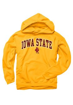 purchase cheap f5c2d 08ac1 Iowa State Cyclones Youth Gold Midsize Arch Long Sleeve Hoodie, Gold, 50%  COTTON  50% POLYESTER, Size XL