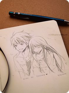 ✮ ANIME ART ✮ anime couple. . .love. . .romance. . .doodle. . .pencil drawing. . .graphite. . .cute. . .fan art. . .kawaii