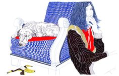 Carine Brancowitz - dog and woman - ballpoint pen art
