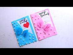 Diy Greeting Cards For Birthday, Handmade Birthday Cards, Greeting Cards Handmade, Beautiful Birthday Cards, Party Crafts, Easy Paper Crafts, Easy Gifts, Applique Templates, Craft Cards