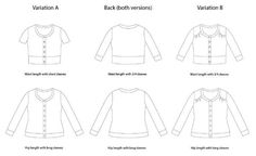 A fitted, round neck, button-up cardigan sewing pattern for women with two length options, three sleeve options, and optional shoulder yoke detailing.