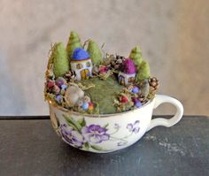 Tiny Houses and Gardens, Fairy Garden in a Cup, Needle Felted. $64.00, via Etsy.
