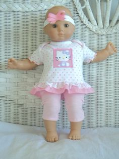Bitty Baby Girl cute 3  pc Pink  My Kitty applique and Leggings  tights  outfit,     doll clothes
