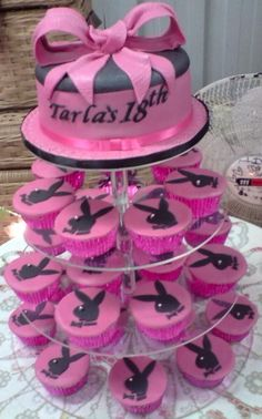 """18th Playboy Birthday Cupcake Tower with 6"""" round Top"""