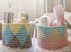 tapestry crochet chart for design!These are really pretty baskets! Crochet Home, Love Crochet, Easy Crochet, Knit Crochet, Crochet Stitches Patterns, Crochet Chart, Crochet Designs, Pinterest Crochet, Fabric Yarn