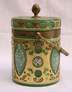 MAGNIFICENT 1900'S FRENCH ENAMELED OPALINE BISCUIT JAR | eBay