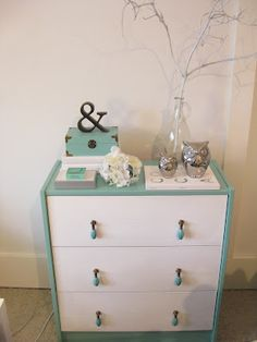 Want to try this too 🙂 Ikea Rast Hack Love Tiffany's blue. Want to try this too 🙂 Ikea Rast Hack Image. Ikea Rast Dresser, Ikea Dresser Makeover, Dresser As Nightstand, Furniture Makeover, Diy Furniture, Dresser Makeovers, Cabinet Makeover, Nightstands, Tiffany Blue