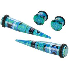 Hot Topic Acrylic Green & Blue Geometric Taper & Plug 4 Pack ($12) ❤ liked on Polyvore featuring accessories and hot topic