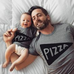 Matching Father Son Shirts, Pizza T-shirts by #Xenotees