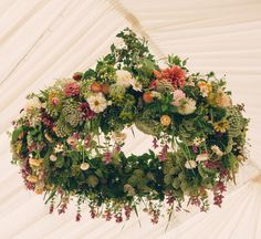 You just can't beat floral decorations in a wedding marquee - beautiful to look at and sweet floral scents too. Marquee Decoration, Hanging Wedding Decorations, Reception Decorations, Floral Decorations, Marquee Wedding Venues, Wedding Reception Tables, Wedding Furniture, Flower Installation, Flower Ball