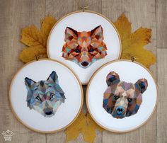 Set! 3 Geometric Animals - 15 Dollars. Fox, Wolf and Bear Abstract Modern Cross Stitch Patterns. Printable PDF. Origami Cross Stitch.