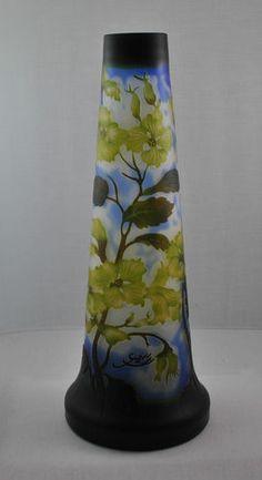 Stunning Large Dogwood Tri Color Galle Vase Unique Shape   eBay