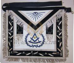 Masonic Regalia Deluxe Past Master Mason Apron Grand Lodge, Silver Bullion, Freemason, Artificial Leather, Leather Tassel, Aprons, Past, Quilts, Size 14