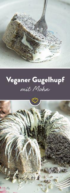 Veganer Gugelhupf mit Mohn und weißer Schokolade