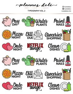 Free Functional Typography Printable Stickers (vol 2) - Planner Deli