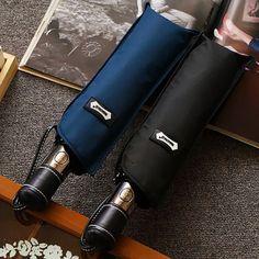 67f6b45cea5c5 US $31.65 |Aliexpress.com : Buy Hot Sale Quality Brand Umbrella Men Fully  Automatic Three Folding Leather Handle Windproof Folding Umbrellas Japanese  ...