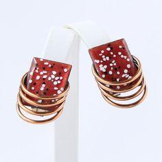 "Matisse ""Lagoon"" Enameled Copper Mid-Century Clip Earrings"