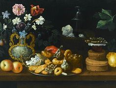 Juan de Espinosa Still Life with Sweets, Flowers and Wine Cooler, detail 17th century