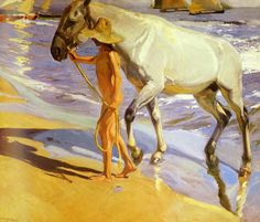 El bano del caballo [The Horse's Bath] by Spanish painter Joaquin Sorolla