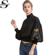 Sheinside Black Vintage Women Blouses Floral Embroidery Shirred Hem Tops Lantern Sleeve Clothing 2017 Elegant High Neck Blouse