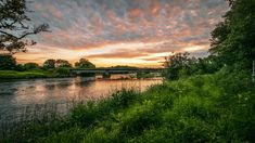 Rzeka, Most, Drzewa, Roślinność, Zachód słońca, Chmury