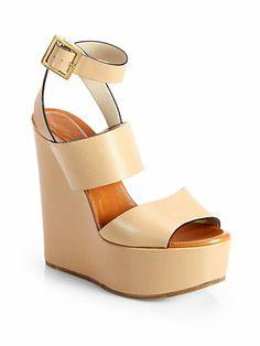 Chloé - Leather Ankle-Strap Wedge Sandals - Saks.com $840