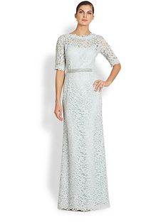 Teri Jon - Beaded-Detail Lace Gown - Saks.com