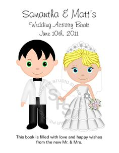 Printable Personalized Custom Wedding Favor Kids 8.5 x 11 coloring activity book PDF or JPEG TEMPLATE. $5.50, via Etsy.