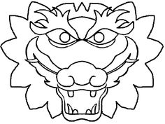 paper bag chinese dragon mask | Cut out the dragon face and glue to the paperplates.