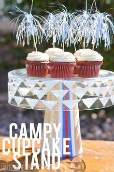 Campy Cupcake Stand (so fun for the 4th of July!)