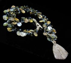 www.jacaranda-jewellery-designs.co.uk - Unique Statement Necklace Silver Leaf Jasper Pendant & Shell