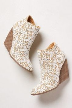 """Kick up your heels with the look of lace crochet! (Very Volatile """"Tallulah"""" Crochet Booties) Lace Booties, Bootie Boots, Shoe Boots, Wedge Boots, Ankle Boots, Cute Shoes, Me Too Shoes, Crazy Shoes, Mode Style"""