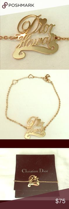 """Gold Christian Dior Hawaii Bracelet Beautiful gold chain bracelet with Dior Hawaii charm and heart shaped spacers. Great condition. Never been worn. Chain is 8"""" long. Charm is 1"""" x 1"""". Comes with matching black velvet jewelry bag. Christian Dior Jewelry Bracelets"""