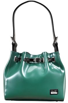 It's A Cinch (Emerald) || Dimensions: 11.5″ L x 5″ W x 10″ H - Strap Length: 10″ - Opening: 4″ - Trim Colors: Black - SRP: $119.00 - Available In: Buttercup, Barely Beige, Bubble Gum, Charcoal, Ebony, Emerald, Fuchsia, Lady Lilac, Lipstick Red, Marigold, Moss, Platinum, Petal Pink, Pearl, Teal, Coined Copper