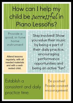 How can I help my child be successful in piano lessons?