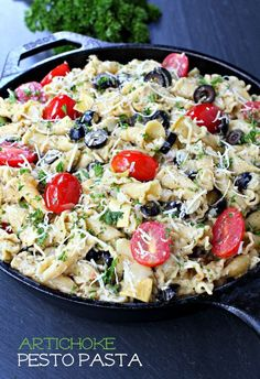 Your family will love this one-pot artichoke pesto pasta! Perfect for busy weeknights.
