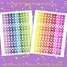 DIY Rainbow Dots Icons Household 150 Printable Planner Stickers pdf Erin Condren Kate Spade Kikkik Filofax Mambi