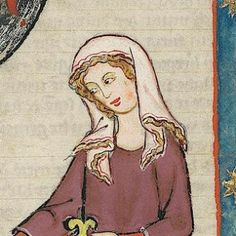 On Yer Heade Part III, Women's Headgear in the 14th Century - Esperanza, the Maniacal Medievalist (pic from Manesse codex veil 13r)