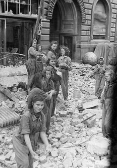 Trümmerfrauen---literally translated as ruins women or rubble women, is the German-language name for women who, in the aftermath of World War II helped clear and reconstruct the bombed cities. They also tended the wounded, buried the dead and salvaged belongings, and began the grueling task of rebuilding war-torn Germany.