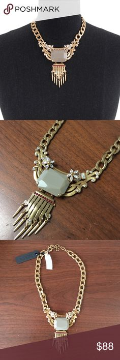 "PM EDITOR PICK STATEMENT STONE FRINGE NECKLACE NWT. An Art Deco vibe just works.  Glass, resin, metal. Russian gold plating. Length: 15"" with a 2 1/4"" extender chain for adjustable length. J. Crew Jewelry Necklaces"