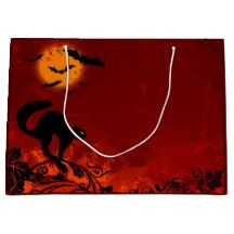 Halloween Black Cat GIft Bag Large Gift Bags, Cat Gifts, Tapestry, Halloween, Cats, Black, Home Decor, Hanging Tapestry, Tapestries