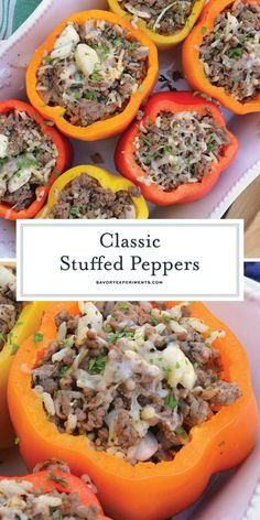 Grilled Stuffed Peppers, Stuffed Peppers With Rice, Stuffed Peppers Healthy, Stuffed Tomatoes, Ground Beef Recipes Easy, Beef Recipes For Dinner, Cooking Recipes, Ground Beef Rice, Beef And Rice