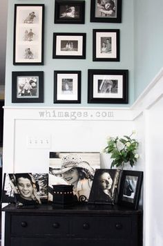 photo wall eclectic family room
